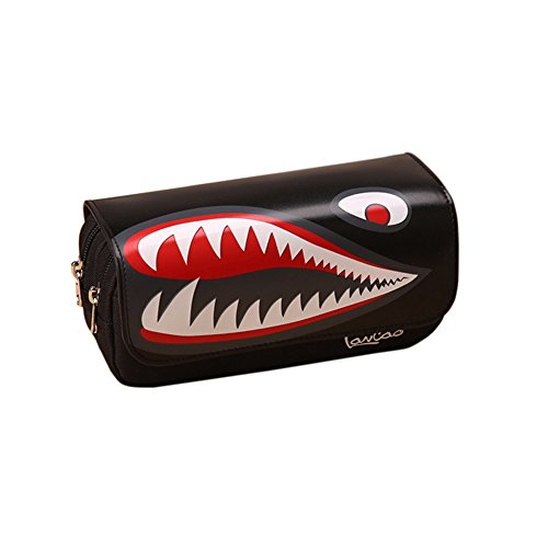 - Vpang Creative Shark Mouth Print Pencil Case Double-Deck Large Capacity Pencil Bag Zipper Makeup Pouch with Coded Lock (Black)
