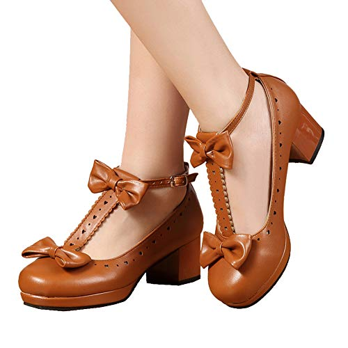 getmorebeauty Women's Lolita Shoes Vintage Sweet T-Straps Bows Mary Janes Shoes (6 B(M) US, Brown) ()