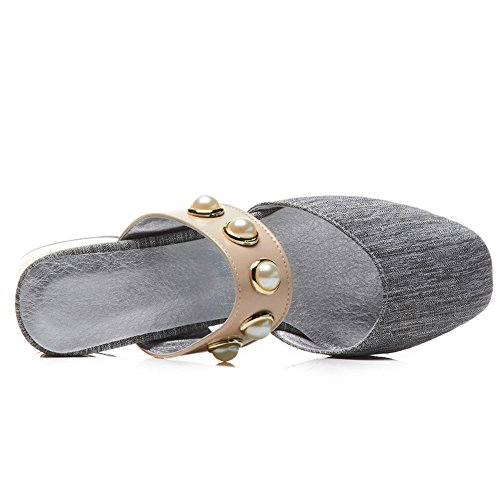 Grey Block Women Heel Closed Mules Toe 3 RAZAMAZA wTazqYg