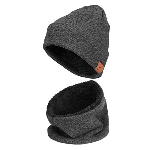 Winter Slouchy Baggy Knitted Hat And Neck Warmer Gaiters Warm Fleece