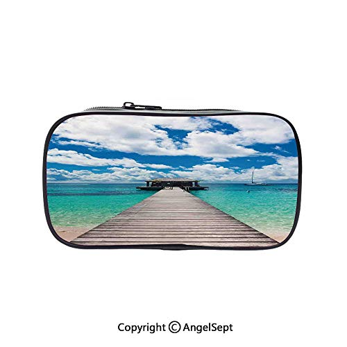 - Big Capacity Pencil Case 1L Storage,Caribbean Seascape with Jetty and Sail Boat Cloudy Sky Clear Exotic Ocean Turquoise Blue White 5.1inches,Desk Pen Pencil Marker Stationery Organizer with Zipper Fo