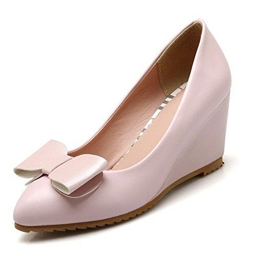 Allhqfashion Womens Spitse Gesloten Teen Hoge Hakken Zacht Materiaal Stevige Pull-on Pumps-schoenen, Roze, 43