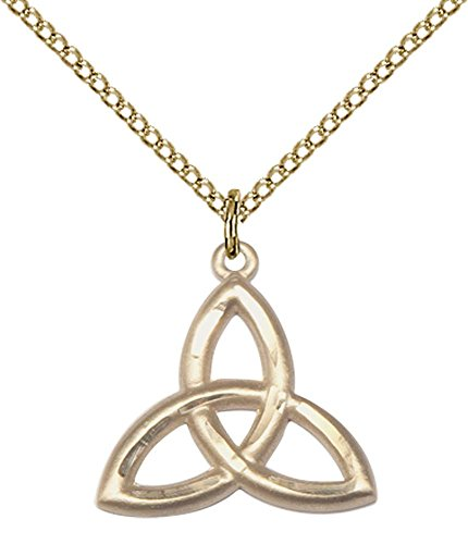 Gold Trinity Knot Pendant - 14kt Gold Filled Trinity Irish Knot Pendant with 18