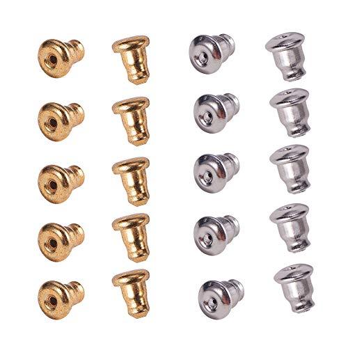 (PH PandaHall 60PCS 304 Stainless Steel Bullet Earnuts Earring Safety Backs Bullet Clutch Earring Backs Earrings Findings (Golden, Stainless Steel Color) )