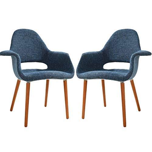 Poly and Bark Barclay Upholstered Fabric Modern Dining Arm Chair with Wooden Legs, Blue Set of 2