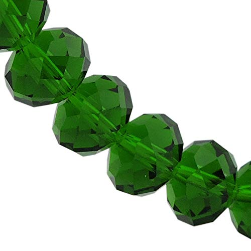 - 12MM Emerald Glass Crystal Beads Faceted Rondelle Shape Beads for Jewelry DIY or Making & Design (12MM, GB-1010)