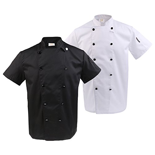 Confortable Manche Blanc Double Courte Noir Respirant Résistant Cuisine Vestes Sharplace 2pcs Chef qvzXXT