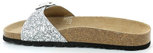 SaraCB0436 Women's Silver Flip Sandals Grunland Flop Glitters 65dnwUq