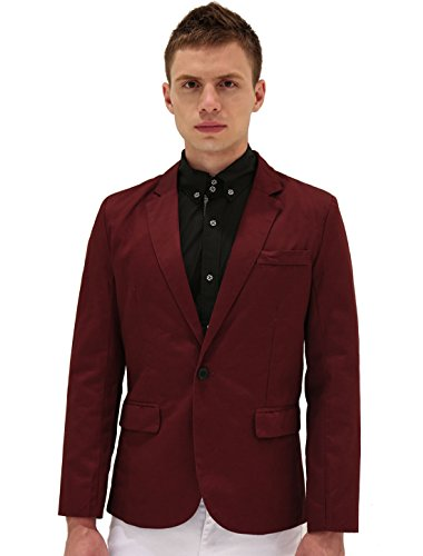 Allegra K Men Notched Lapel Center-Vent Back One-Button Blazer