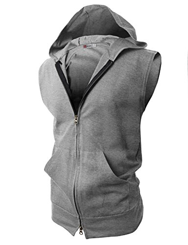 H2H Mens Active Casual Fashion Lightweight Sleeveless Zip-up Vest Tank Hoodies