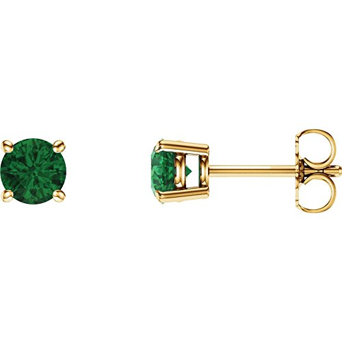 14k Yellow Gold 5mm Round Chatham Created Emerald (Chatham Created Emerald Earrings)