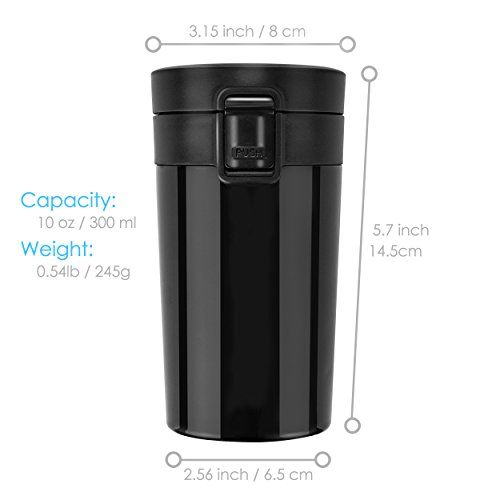 Stainless precious metal Insulated journey connoisseur coffee Mug Rainbrace double Wall Insulated connoisseur coffee Mug journey Mug Cup water flask large jaws using One Hand jump cover 300 ml 10 oz always keep popular or Cold for HoursBlack Commuter journey Mugs