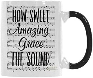 Coffee Mug Funny Magic Color Changing Mugs Heat Sensitive Ceramic Tea Cup - How Sweet Amazing Grace The Sound Christian Gifts Coffee Mug 11 Ounce