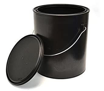 1 gallon black all plastic polypropylene paint can with