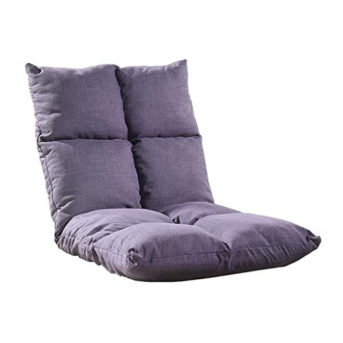 Silla de Piso Ajustable Plegable Gaming Couch Meditation Perezoso Salon Sofa Cama Respaldo (Verde, Morado, Amarillo) (Color : Purple)