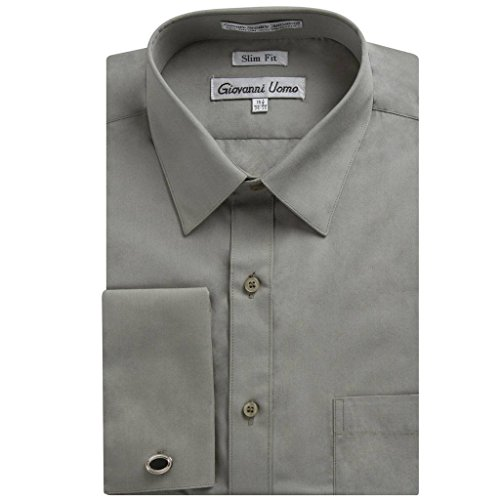 Gentlemens Collection Men's 1921 Slim Fit French Cuff Dress Shirt