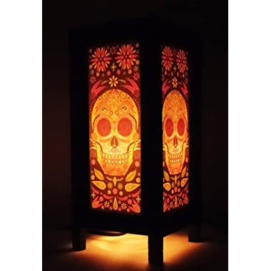 Thai Vintage Handmade Asian Oriental Fantasy Skull Bedside Table Light or Floor Wood Paper Lamp Shades Home Bedroom Garden Decor Modern Design from Thailand