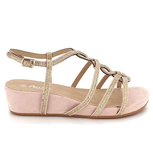 Sandales De Dames Chaussures Compensé Bal De Plusieurs Talon Chaussures Soirée Femmes Occasionnel Bal Taille Diamant Rose De Mariage Sandales 0FnxpqwZqd