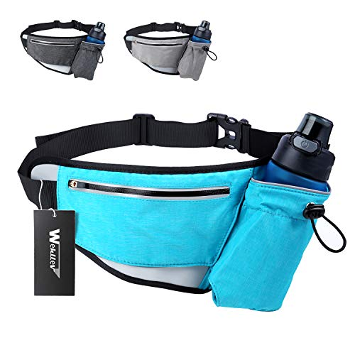 Hiking Fanny Packs for Women Men, Fanny Pack with Water Bottle Holder, Running Hydration Belt Bags Reflective Waist Bag for Walking, Travel, Cycling (Blue Fanny Pack with Water Bottle Holder)
