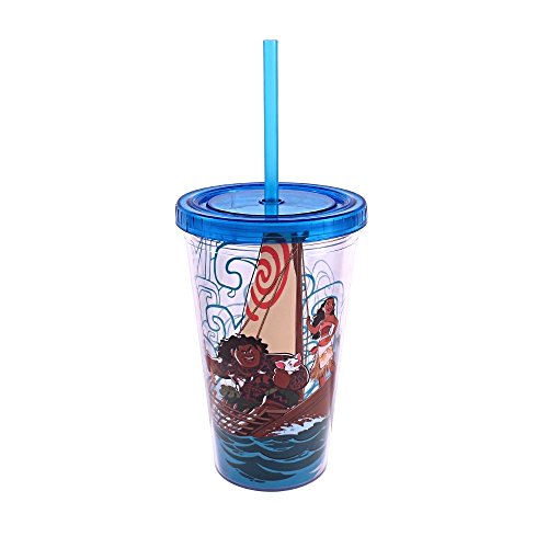 Silver Buffalo MN01087 Disney Moana Group Shot Plastic Cold Cup with Lid and Straw, - Cup Maui