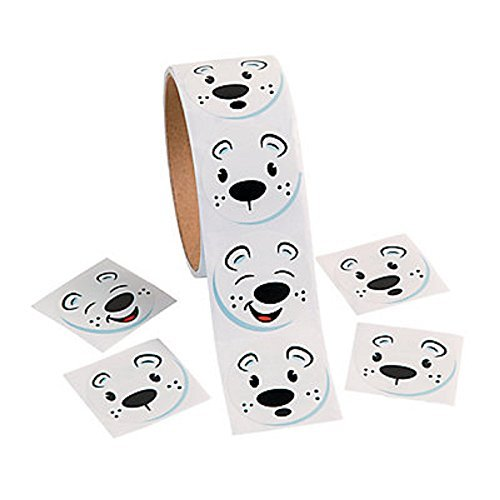 1 Roll ~ Polar Bear Face Stickers ~ 100 Round Stickers Total ~ Approx. 1.5