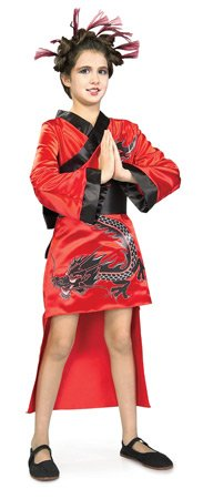 Girls Red Dragon Girl Geisha Costume - Child -