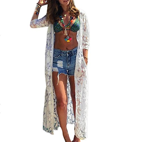 Lotus.flower Stylish Women Maxi Lace Bikini Cover-Up Loose Kimino Cardigan Half Sleeves Beach Shawls/Wraps (White, (Lace Cardigan Pattern)