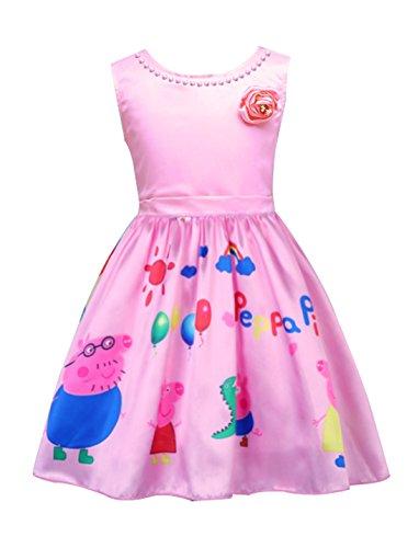 LEMONBABY My Little Pony Sleeveless Princess Birthday Party Dress (3-4Y, Peppa Pig)