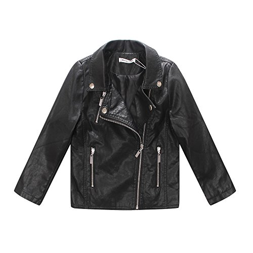 LJYH Girls Leather Motorcycle Jacket Children's PU Love Coat, Black, Size 2-3