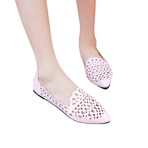 - Clearance! ❤️ Women Shoes, Neartime Summer Fashion Solid Color Hollow Out Square Shallow Toe Flat Heel Sandals (US:7, Pink)