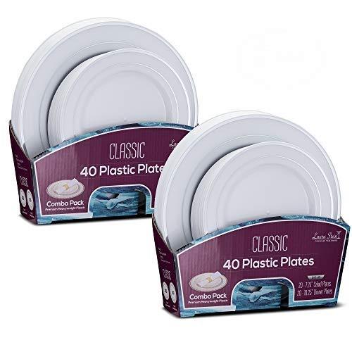 Laura Stein Designer Dinnerware Set of 80 Premium Plastic Wedding/Party Plates: White, Silver Rim. Set Includes 40 10.75