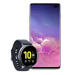 Samsung Galaxy S10+ Plus Factory Unlocked Phone with 1TB (U.S. Warranty), Ceramic Black w/Samsung Galaxy Watch Active2 (44mm), Aqua Black - US Version with Warranty