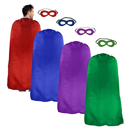 iROLEWIN Adults Superhero Cape Cloak for Men & Women with Mask Dress up Party Costumes (4 Color Set)