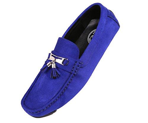 Amali Heren Kwast Rijden Schoen, Comfortabele Microfiber Bestuurder, Casual Mocassin, Stijl Dyer Royal Blue