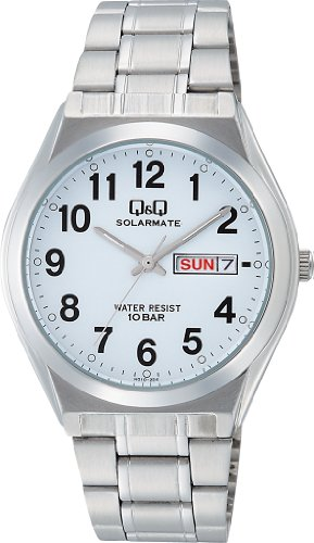 CITIZEN Q & Q watch SOLARMATE solar power analog display date display 10 ATM water resistant White H010-204 men's watch