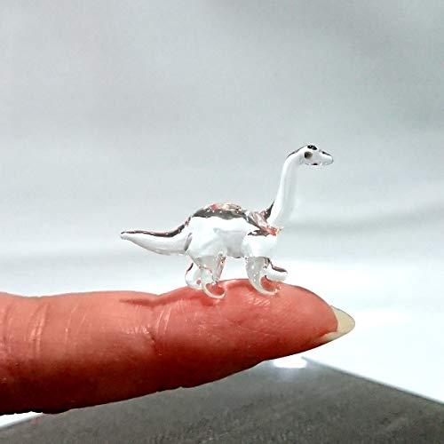 Sansukjai Rare Apatosaurus Dinosaur Tiny Micro Crystal Figurines Hand Blown Clear Glass Art Animals Collectible Gift Home Decor