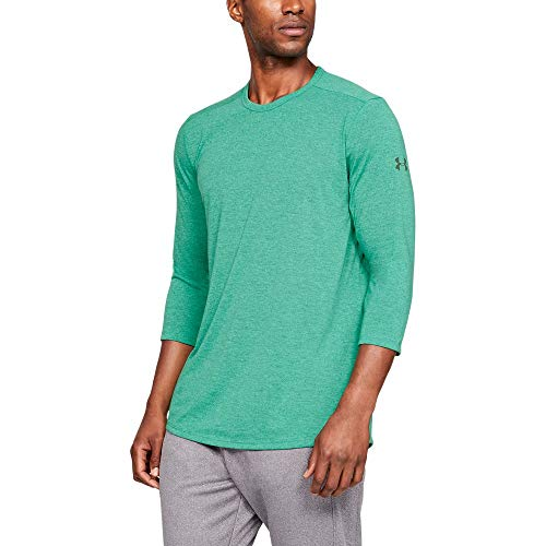 Under Armour Men's Threadborne 3/4 sleeve, Green Malachite (349)/Charcoal, Small