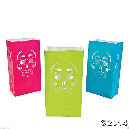 12 HALLOWEEN Day Of The Dead Party Decoration Prop Paper SKULL LUMINARY BAGS