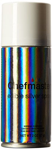 Chefmaster Edible Spray, One 2-Ounce Can. Kosher Certified - Silver - Edible Silver Pearls