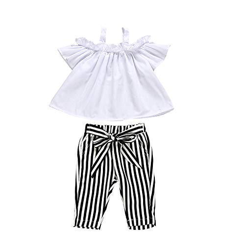 (Zukuco Toddler Baby Girls Off Shoulder Top + Floral Bell-Bottoms Pants Outfit(6-12M, White) )