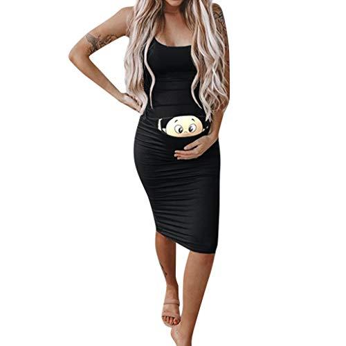 Vicbovo Clearance Funny Women Maternity Dress Baby Peeking Print Scoop Neck Spaghetti Strap Bodycon Pregnancy Dresses (Black, S)