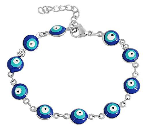 EDFORCE Stainless Steel Women's Charm Bracelet Green | Gold Enamel Evil Eye Protection Link Chain Adjustable, 8