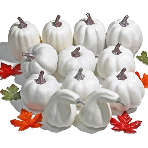 Painted Pumpkin Faces For Halloween (WsCrafts 12Pcs Assorted Sizes White Artificial Pumpkins for Halloween, Fall Harvest Festival Thanksgiving Autumn)