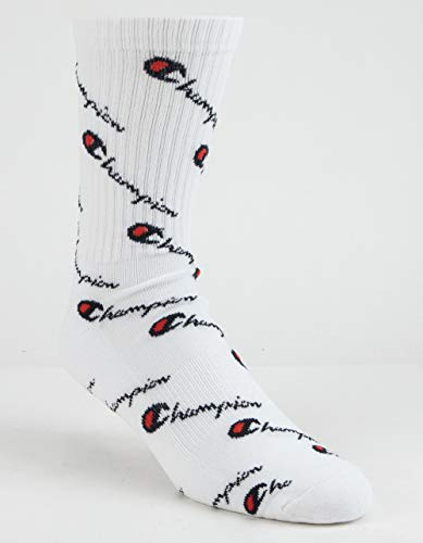 Champion LIFE Men's All Over Print Crew Sock, white, One Size