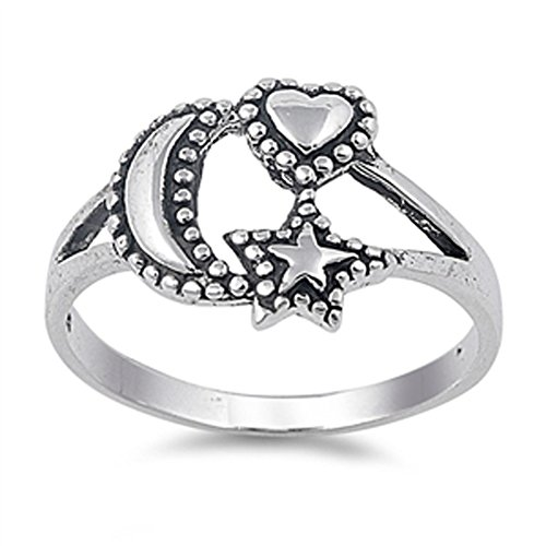 (Oxidized Beaded Heart Moon Star Good Luck Ring Sterling Silver Band Size 11)
