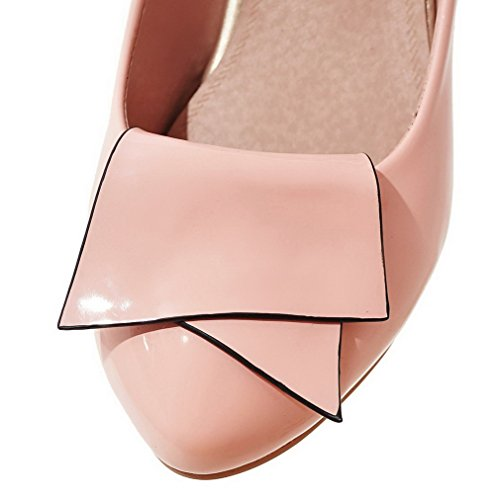 VogueZone009 Damen Mittler Absatz Lackleder Rein Ziehen auf Rund Zehe Pumps Schuhe Pink