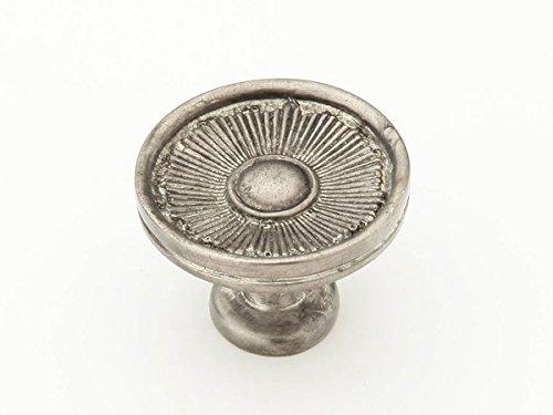 Schaub Sunburst Collection 1-3/8 in. (35mm) Knob, Silver Antique - 972-SA Brass Sunburst Sunburst Collection