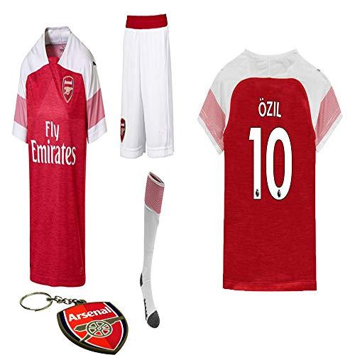 Arsenal 2018 19 Replica Aubameyang Mesut Ozil Kid Jersey Kit : Shirt, Short, Socks, Bag, Key Chain(#10 Mesut Ozil, Size 28 (11-12 Yrs Old Approx.))