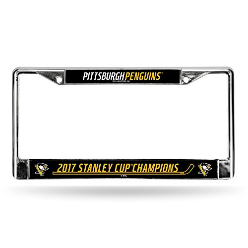 Rico Industries NHL Pittsburgh Penguins 2017 Stanley Cup Champions Chrome Frame, Black, 12