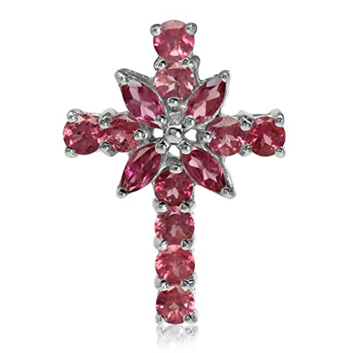 (Natural Pink Tourmaline White Gold Plated 925 Sterling Silver Cross Pendant)